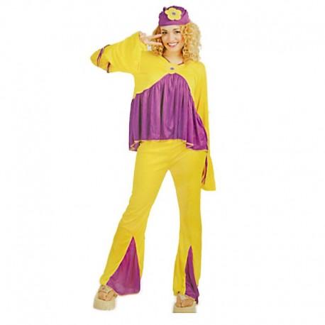 Disfraz de hippie chica magenta para adulto