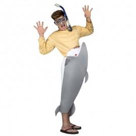 Disfraz de tiburon hambriento para adulto