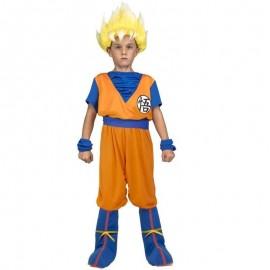 Disfraz de Saiyan™ Dragon Ball 7-9 años con peluca