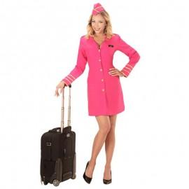 Disfraz de azafata rosa para adulto