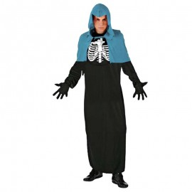 Disfraz de brujo esqueleto azul para adulto