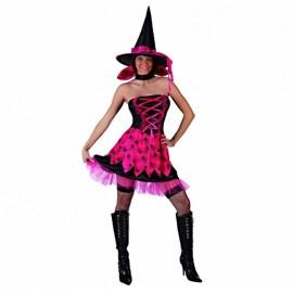 Disfraz de bruja chic fucsia para adulto