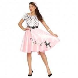 Disfraz de pink lady lunares para adulto