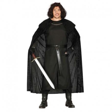 Disfraz de medieval negro con capa para adulto