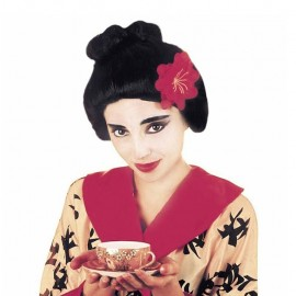 Peluca de geisha con flor