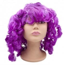 Peluca rizada con coletas violeta