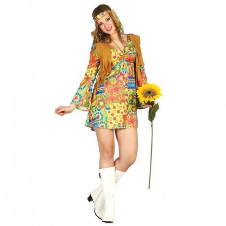 Disfraz de hippie falda corta