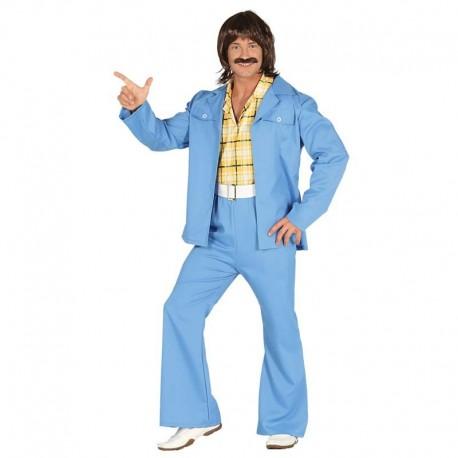 Disfraz de años 70 azul para adulto