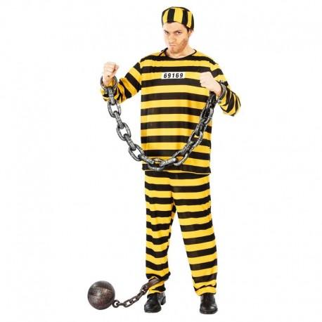 Disfraz de preso amarillo para adulto