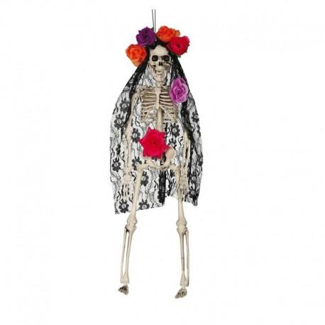 Colgante esqueleto con mantilla 40cm
