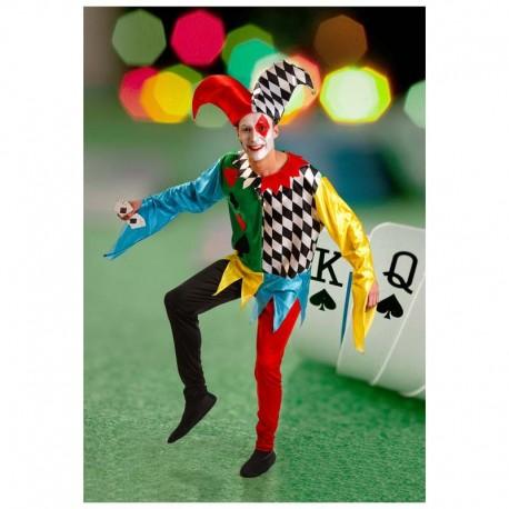 Disfraz de bufon multicolor para adulto