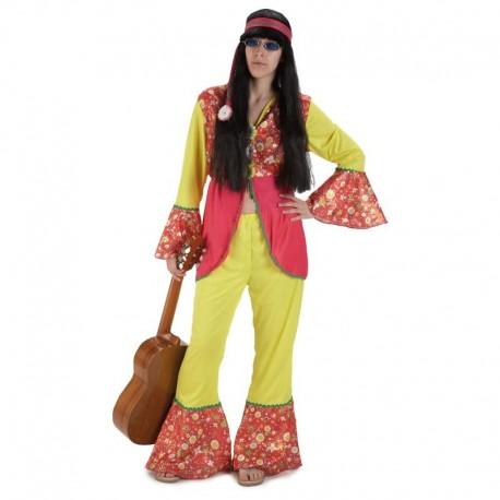 Disfraz de hippie chica brillos para adulto