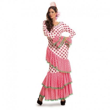 Disfraz de flamenca rosa ribete verde XL para adulto